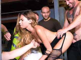 Sexy latina babe hardcore fuck and torture in public