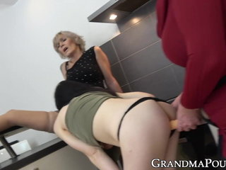 Naughty grannies frigged leisurely by younger babe