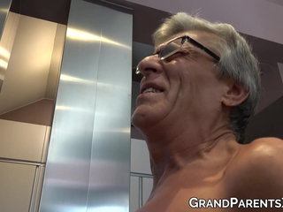 Grandaddy fucks pussy of young chick while gleam fucks granny