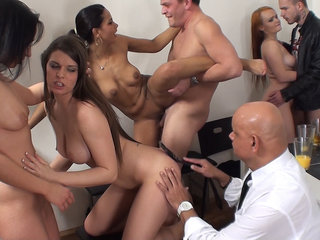 Sex party with older spectator