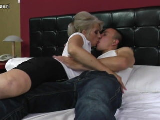Hairy grandmother rigid fucked by youthful paramour