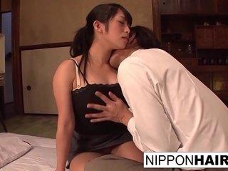 Japanese office mega-slut gets her hairy slit toyed and ravaged
