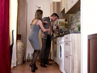 Insatiable Youthfull Wifey in Stockings bangs Spouse in Kitchen
