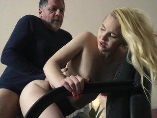 on knees