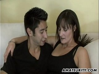 Hot second-rate Milf sucks and fucks a young cock