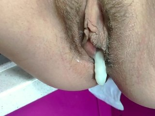 Quickie coition increased by devil-may-care creampie first of all kitchen. Rim their way pussy all round cum